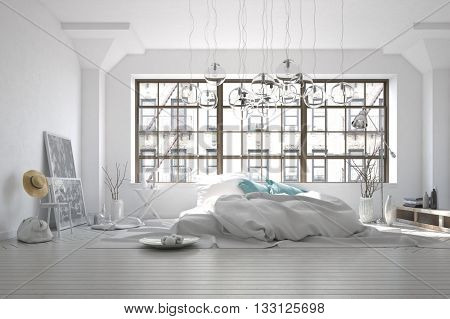Stark white monochromatic messy bedroom interior with a rumpled rug, unmade bed and large window overlooking an apartment block with eclectic furnishings, 3d rendering