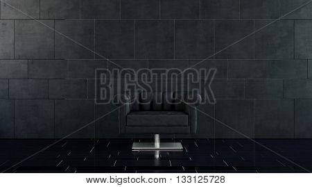 Single Modern Plush Black Leather Arm Chair with Silver Pedestal in Spacious Room with Dark Tile Floor and Walls with Copy Space. 3d rendering