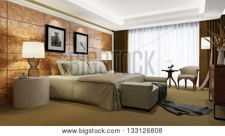 Elegant hotel room with king size bed and floor windows (3D Rendering)