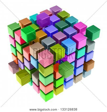 Many colorful 3D cubes as teamwork concept (3D Rendering)