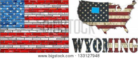 USA state of Wyoming on a brick wall - Illustration, The flag of the state of Wyoming on brick textured background,  Font with the United States flag,  Wyoming map on a brick wall