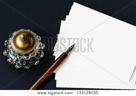 Fountain pen, inkwell, letter with space for your logo or text