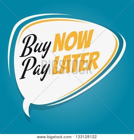 buy now pay later retro cartoon speech bubble