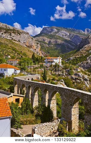 Aqueduct in Bar Old Town - Montenegro - nature and architecture background