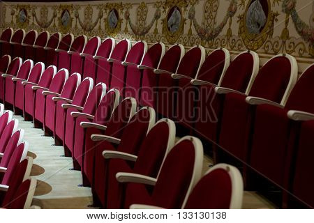 ST. PETERSBURG, RUSSIA - JUNE 2, 2016: Rows of seats in the Ciniselli circus. The circus was opened in 1877, and is the first stone stationary circus of Russia