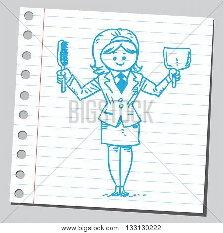 Businesswoman with dustpan and cleaning brush