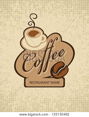 vector banner with a cup of coffee and grain on a fabric background