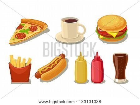 Set fast food icon. Glass of cola hamburger pizza hotdog cup coffee fries potato in red paper box bottles of ketchup and mustard. Vector isolated flat illustration for menus web.