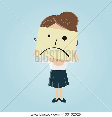 businesswoman hiding behind a sad face note