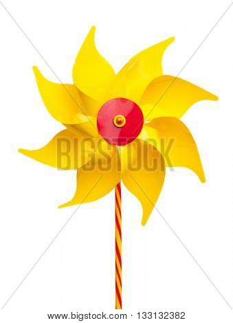 Yellow pinwheel isolated on white background