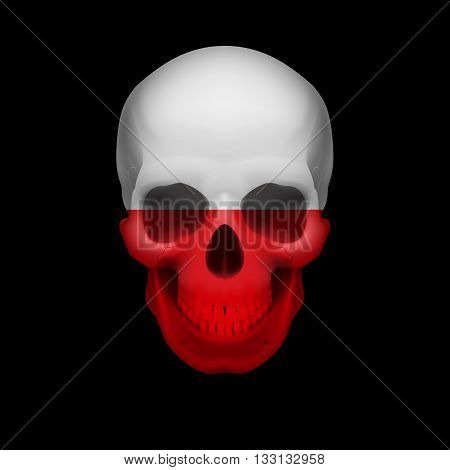 Human skull with flag of Poland. Threat to national security war or dying out