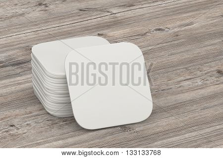 Beer coaster. Isolated on wooden table. Include clipping path. 3d illustration