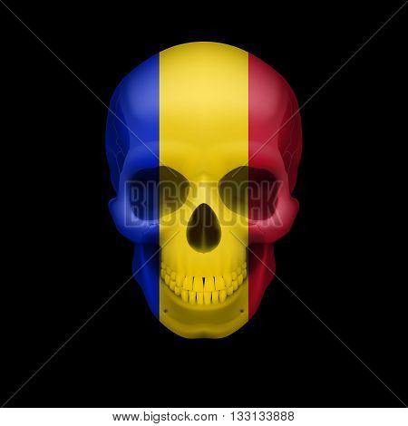 Human skull with flag of Romania. Threat to national security war or dying out
