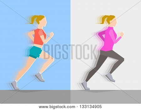 Running girl dressed in seasonal clothes on blue background and on gray background. Motion effect. Sports and healthy lifestyle concept
