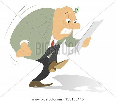 Angry man. Bald headed man looks the paper which makes him angry