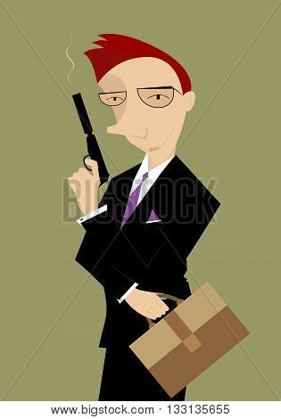 Protect your business. Businessman holds a gun in his hand