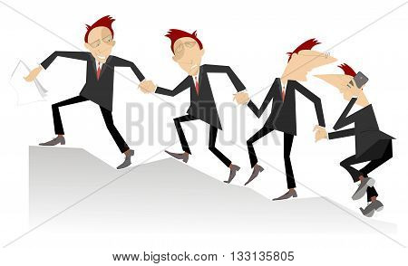 Team work. Group of businessman join hands and help each other in business