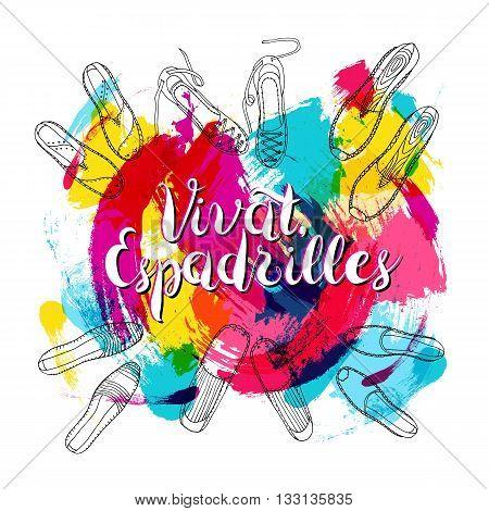 vector Lettering Vivat Espadrilles on Spot background