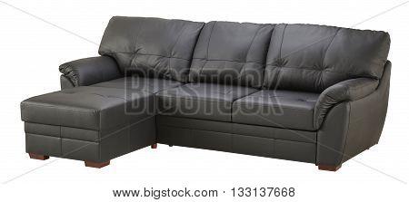 Black Brown Leather Corner Sofa