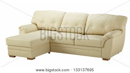 White Leather Corner Sofa  Isolated