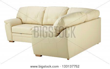 White Leather Corner Sofa  Isolated On White