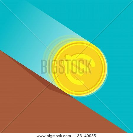 Gold coin with euro sign at high speed is rolling down at sloping plane. Depreciation of money concept