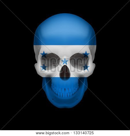 Human skull with flag of Honduras. Threat to national security war or dying out