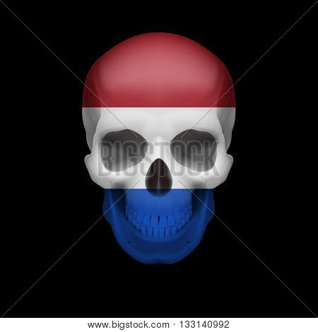 Human skull with flag of Netherlands. Threat to national security war or dying out