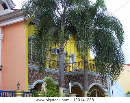 Palm trees shading the Philippine home balcony