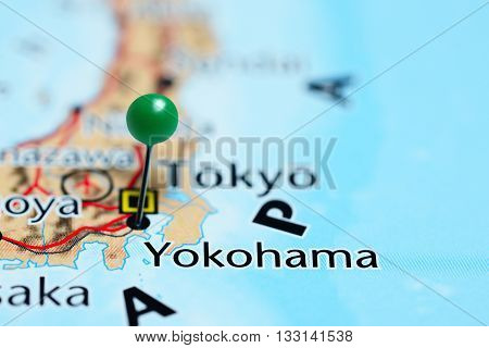 Yokohama pinned on a map of Japan