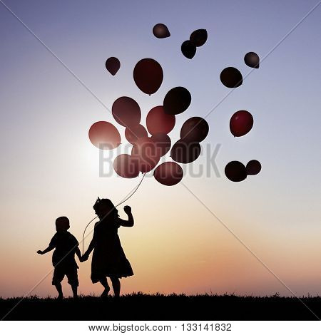Balloons Children Outdoors Together Field Concept