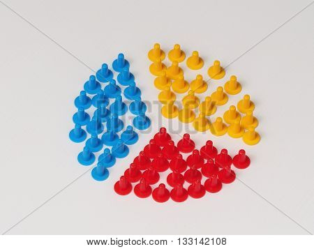 Three groups split up illustrated by colored plastic board game hats in various colors