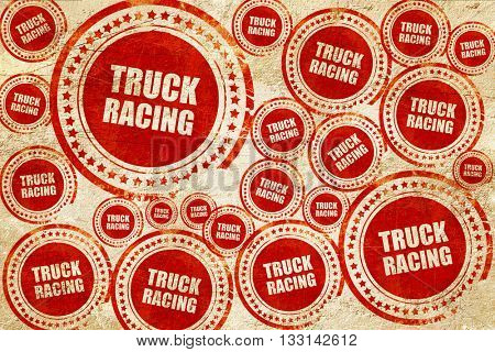 truck racing background, red stamp on a grunge paper texture