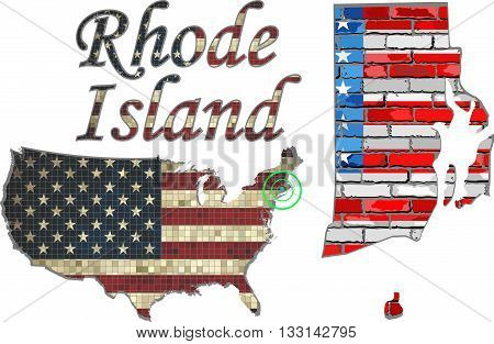 USA state of Rhode Island on a brick wall - Illustration, The flag of the state of Rhode Island on brick textured background,  Font with the United States flag,  Rhode Island map on a brick wall
