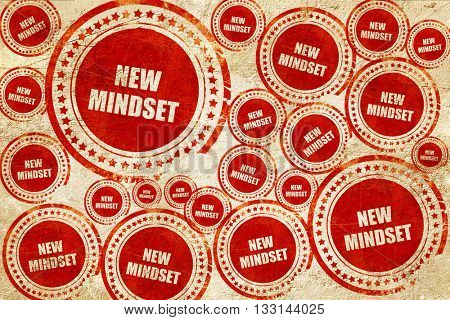 new mindset, red stamp on a grunge paper texture