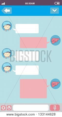 cute cartoon liver with doctor in smart phone chat bubbles with blank text great for your degisn