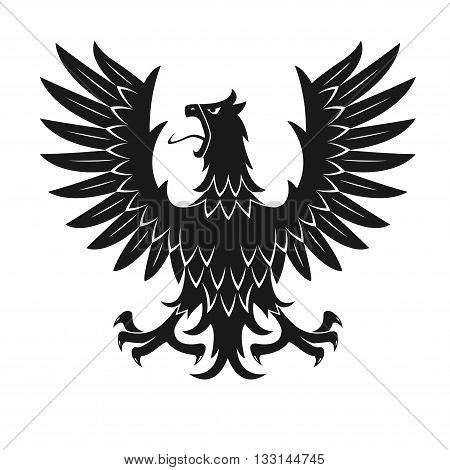 Black heraldic bird symbol for medieval stylized coat of arms or tattoo design usage with silhouette of screaming eagle in aggressive posture with raised wings