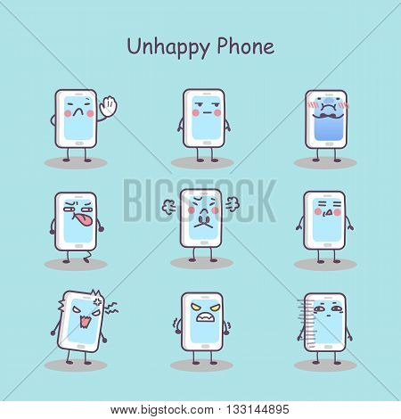 Unhappy cartoon smart phone set great for your design
