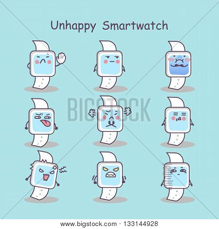 Unhappy cartoon smart watch set great for your design