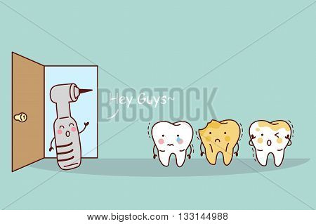 cartoon tooth with dental equipment great for health dental care concept