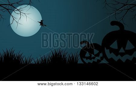 Silhouette of Halloween pumpkins and witch at night