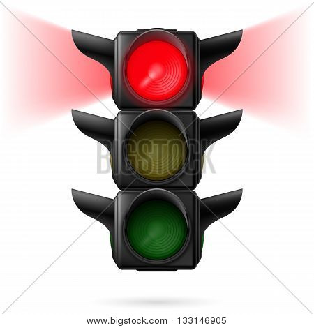 Realistic traffic lights with red color on and sidelight. Illustration on white background