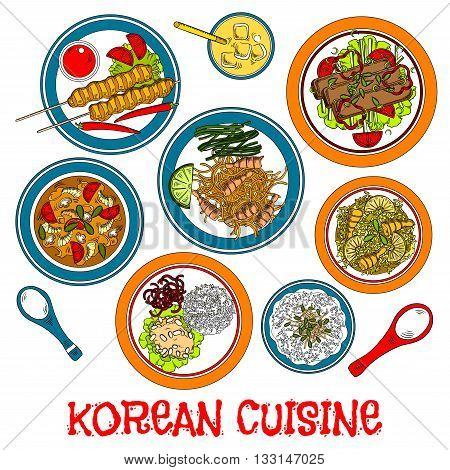 Traditional korean grilled meat on sticks and marinated beef bulgogi sketch icon served with various of fresh vegetables and fried rice with pineapple and shrimps, steamed rice and meat balls, seafood spicy soup and noodles, pear juice beverage with ice