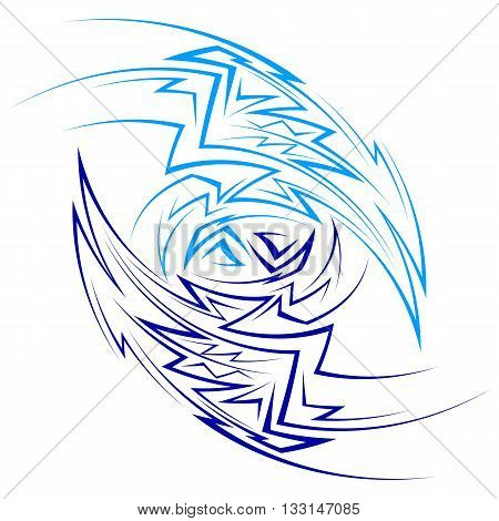 Abstract pattern made of curved sharp lines consisting of two parts in light and dark blue colors