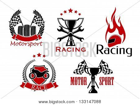 Motorsport, motorcycle and auto racing icons with wheels and trophy with racing flags, shield with motorcycle, winner cup with crossed spanners and flaming helmet, adorned by wreaths, stars and ribbon banners