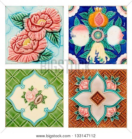 close up background and texture of vintage style old tile decorative surface flower