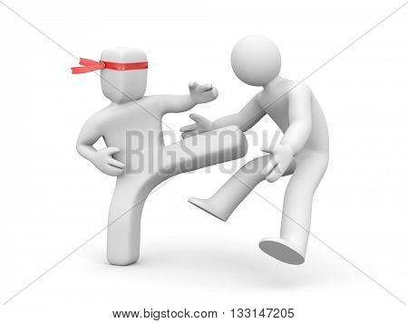 Square head man stabs round head man. 3d illustration