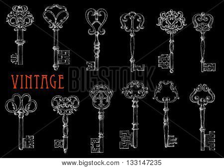Vintage ornate keys chalk sketch drawings on blackboard with ornamental decorated bows and shafts. May be use as fashion or embellishment design or security and safety concept