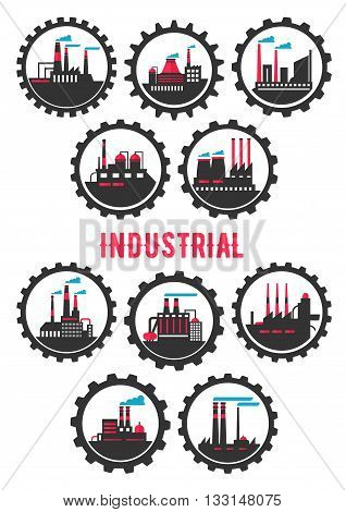 Industrial plants flat symbols framed by gear wheels with chemical, mechanical, manufacturing and petrochemical plants infrastructure elements. Heavy industry symbol, ecology and industrial tourism design usage