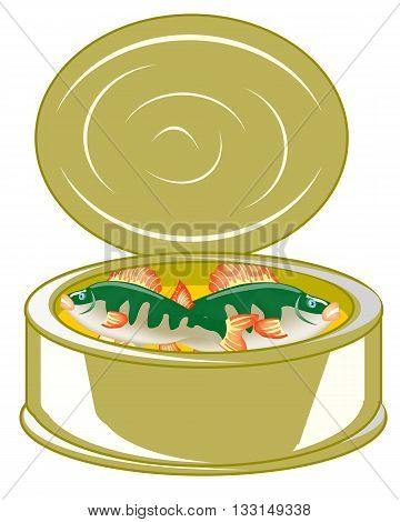 The Tin-plate bank with canned fish.Vector illustration